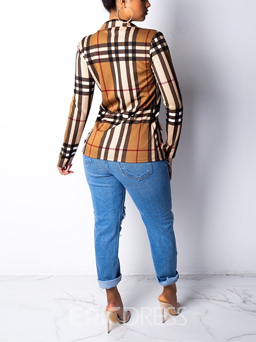 Ericdress Long Sleeve Plaid Single-Breasted Casual Spring Blazer