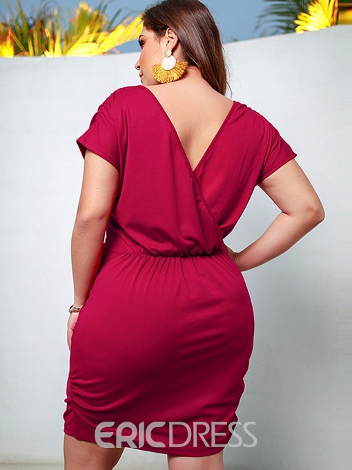Ericdress Plus Size Above Knee Short Sleeve V-Neck Standard-Waist Pullover Dress