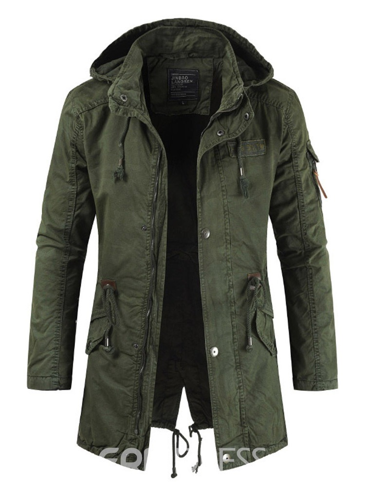 Ericdress Plain Lace-Up Hooded Mens Zipper Spring Jacket