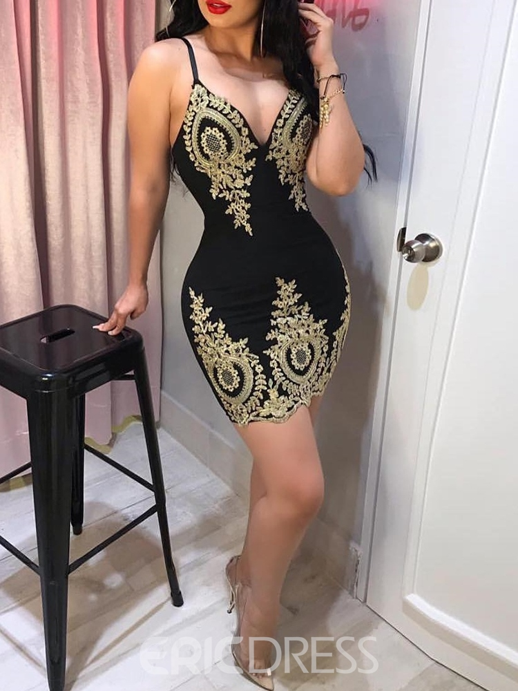 Ericdress V-Neck Embroidery Above Knee Sexy Bodycon Dress