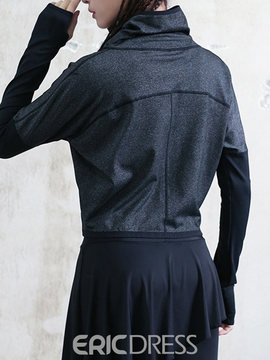 Ericdress Thumbholes Solid Thermal Zipper Long Sleeve Sport Tops