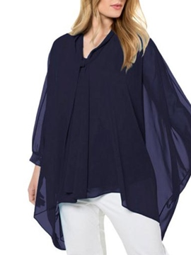Ericdress Batwing Sleeve Plain V-Neck Nine Points Sleeve Mid-Length Blouse