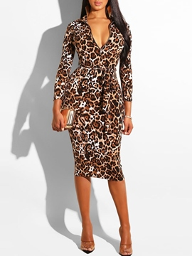 Ericdress Stand Collar Nine Points Sleeve Mid-Calf Leopard Dress