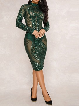 Ericdress Long Sleeve Knee-Length Sequins Sexy Bodycon Dress