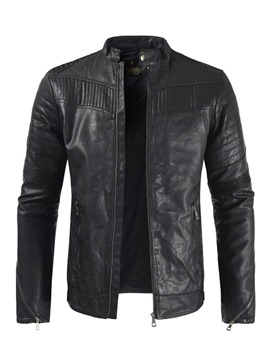 Ericdress Plain Stand Collar Slim Casual Mens Leather Jacket