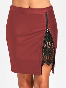 7bae21838 Ericdress Patchwork Color Block Lace Bodycon Mini Skirt