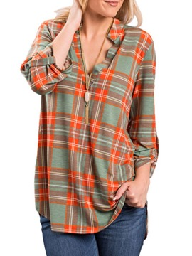 Ericdress Plaid Regular V-Neck Long Sleeve Mid-Length Blouse