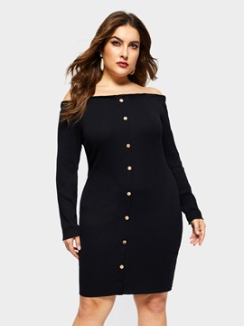 Ericdress Plus Size Off Shoulder Above Knee Sexy Plain Dress