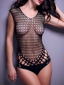 Ericdress See-Through Plain Backless Fishnet Bodystocking Bodysuit