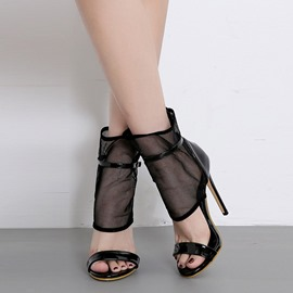 Ericdress PU Patchwork Stiletto Heel Heel Covering Women's Sandals