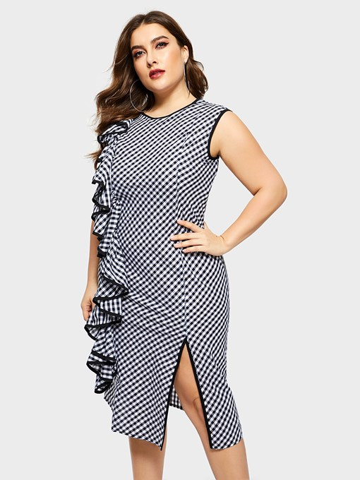 Ericdress Sleeveless Round Neck Falbala Plaid Plus Size Dress