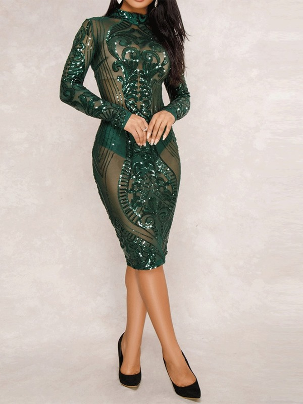 a13c7520fa697c Ericdress Long Sleeve Knee-Length Sequins Sexy Bodycon Dress ...