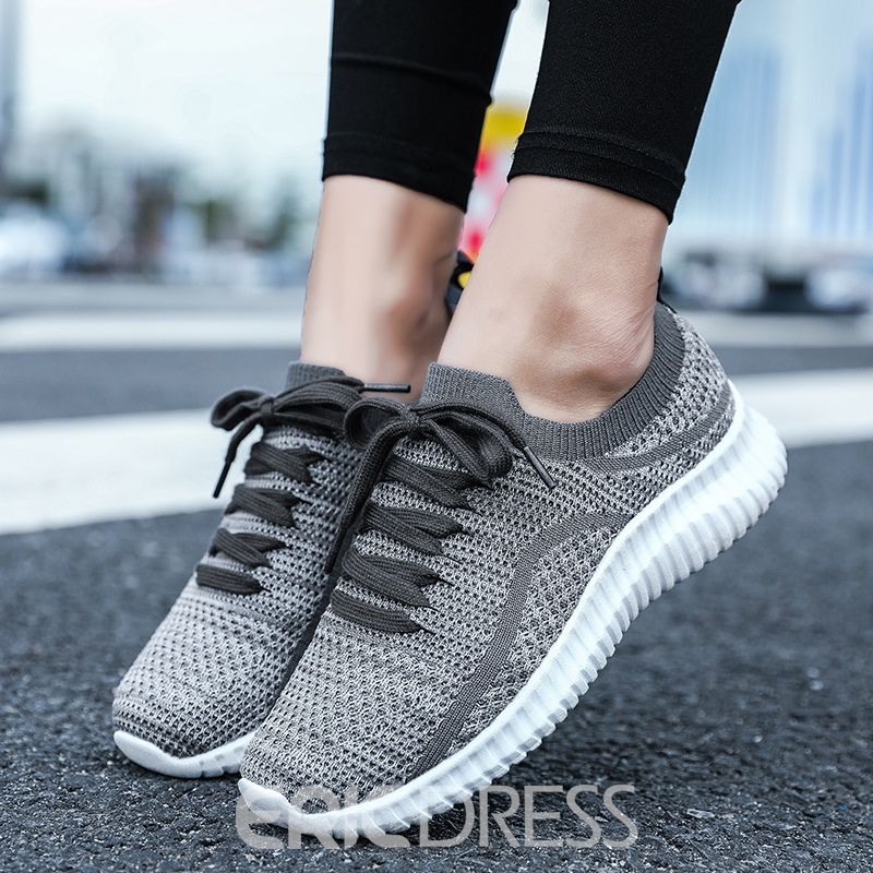 Ericdress Mesh Round Toe Lace-Up Low-Cut Upper Women's Sneakers