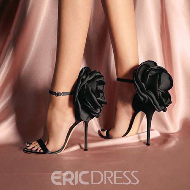 Ericdress Floral Silk Fabric Stiletto Heel Women's Sandals
