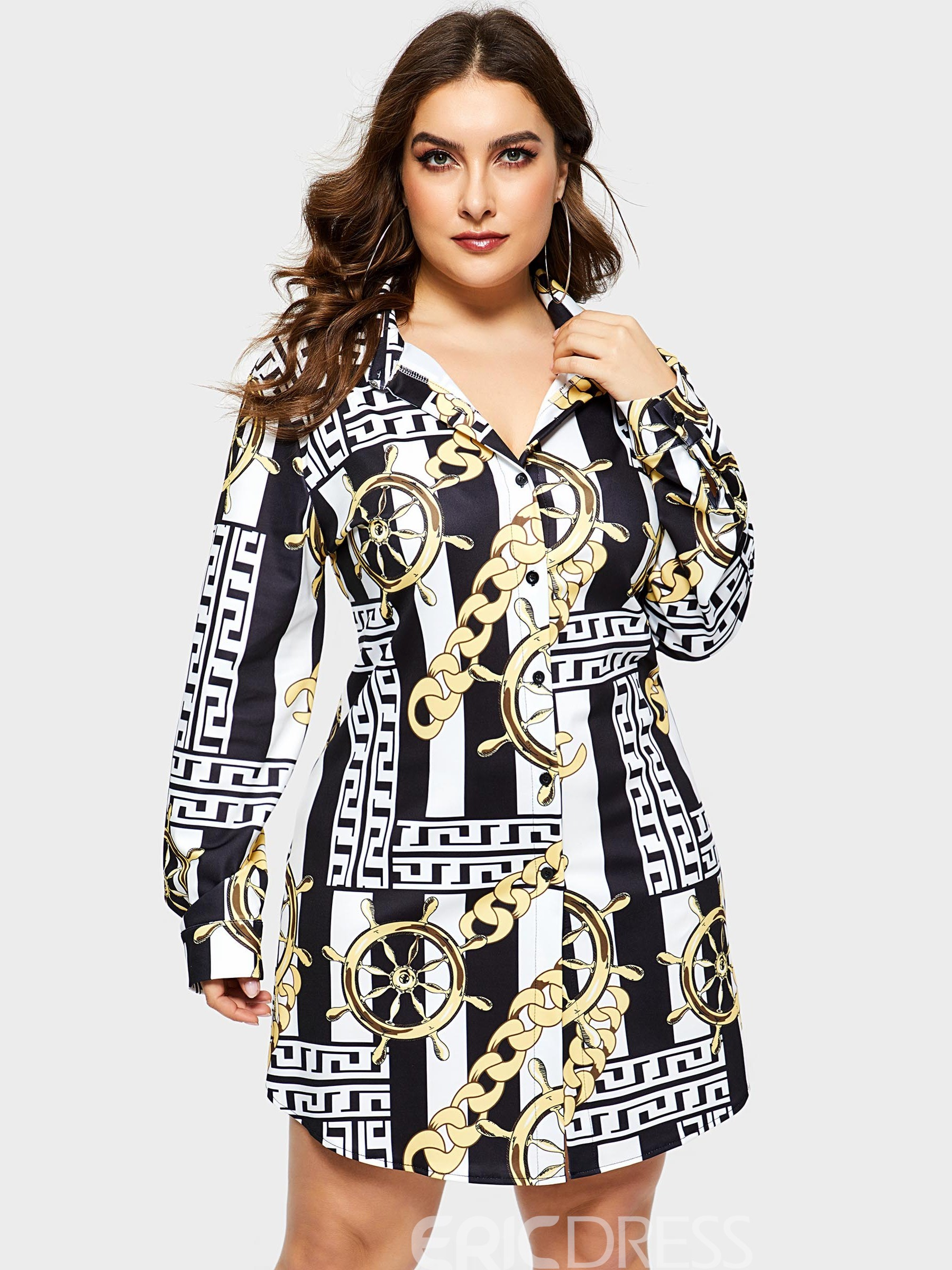 Ericdress Plus Size Above Knee Print Long Sleeve Pullover Sexy Dress