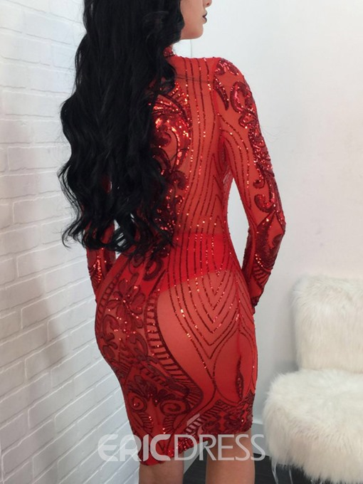 Ericdress Long Sleeve Knee-Length Sequins Sexy See-Through Dress