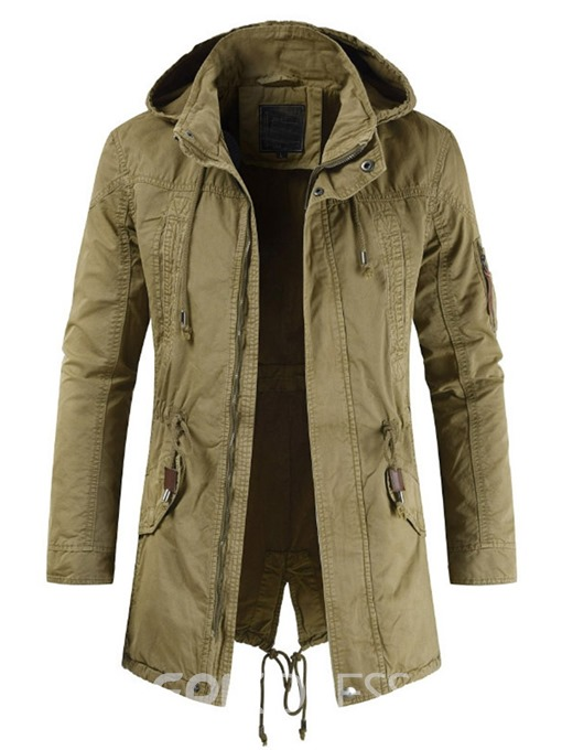 Ericdress Plain Hooded Lace-up Mens Casual Zipper Jacket