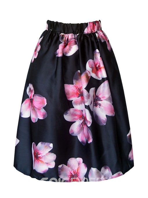 Ericdress Print Floral Knee-Length Fashion Skirt