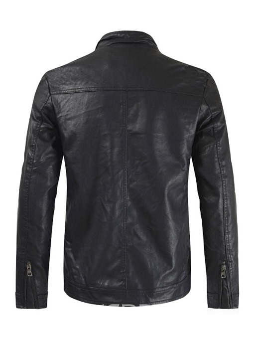 Ericdress Plain Stand Collar Casual Zipper Mens Leather Jacket