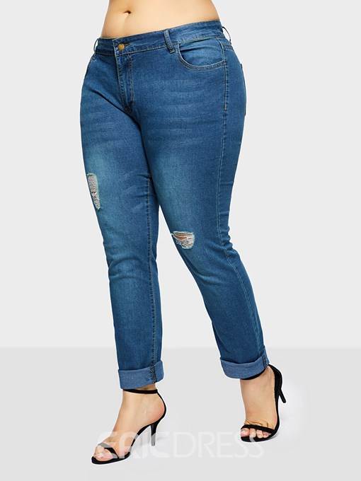Ericdress Plus Size Hole Pencil Pants Plain Zipper High Waist Jeans