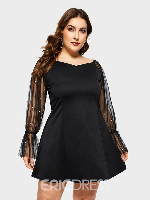 Ericdress Plus Size See-Through Above Knee Long Sleeve Plain Pullover Dress