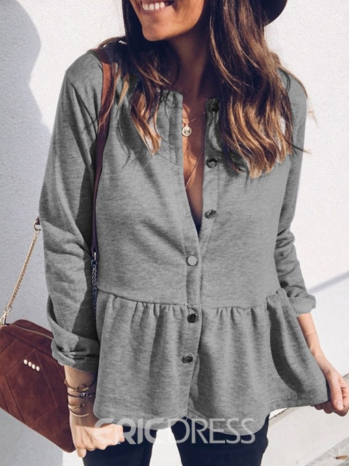Ericdress Single-Breasted Round Neck Long Sleeve Standard Spring Casual Blazer
