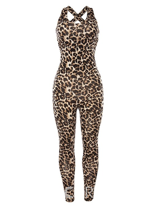 Ericdress Leopard Sports Full Length High Waist Pencil Pants Jumpsuit