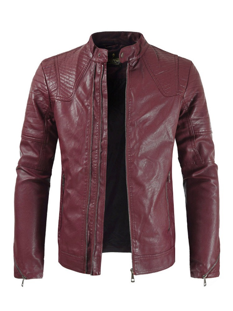 Ericdress Plain Stand Collar Mens Casual Zipper Leather Jacket