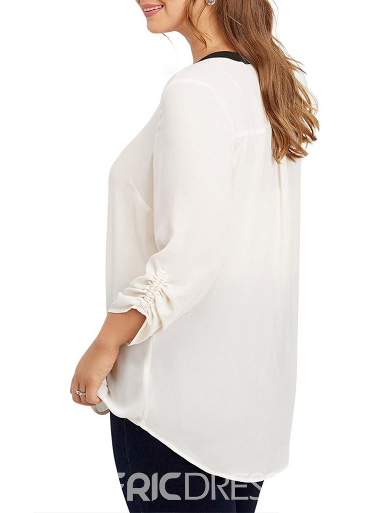 Ericdress Color Block V-Neck Nine Points Sleeve Mid-Length Blouse