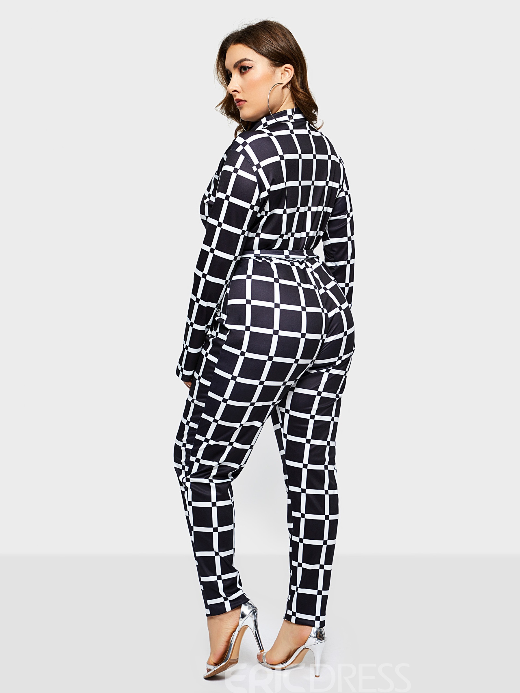 Ericdress Plus Size Color Block Print High Waist Slim Jumpsuit