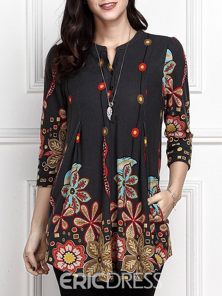 Ericdress Mid-Length Floral Three-Quarter Sleeve Loose Spring T-Shirt