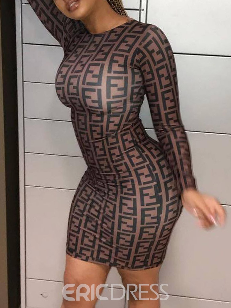Ericdress Above Knee Long Sleeve Print Lace Up Dress