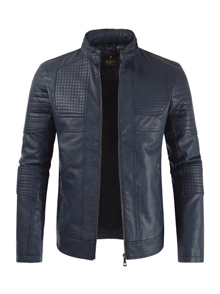 Ericdress Plain Stand Collar Mens Casual Slim Leather Jacket