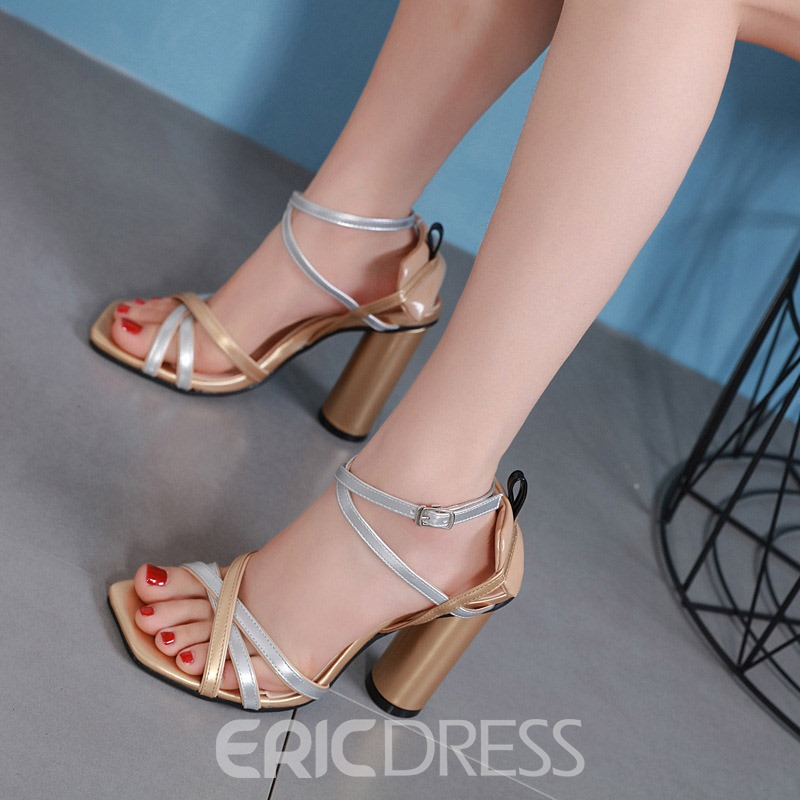 a8c257ccd4a Ericdress Heel Covering Chunky Heel Color Block Women s Sandals(13743519)