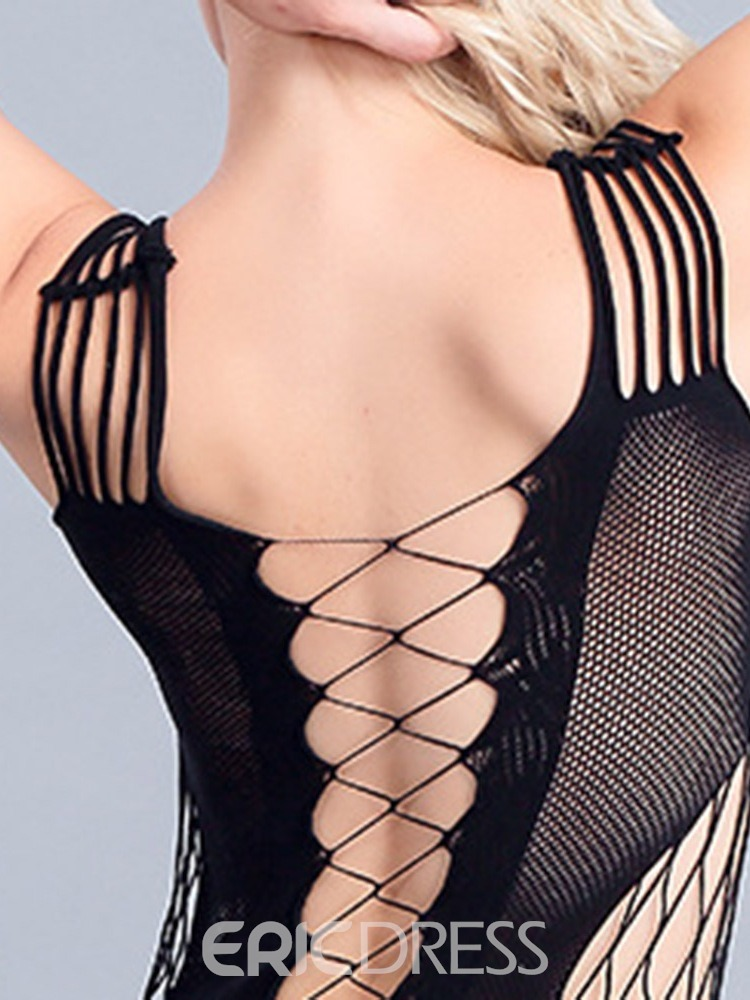 Ericdress See-Through Backless Plain Tight Wrap Fishnet Teddies