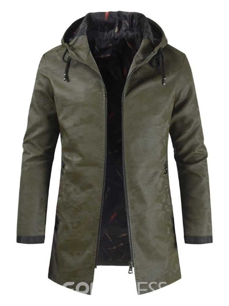 Ericdress Plain Hooded Camouflage Mens Zipper Leather Jacket