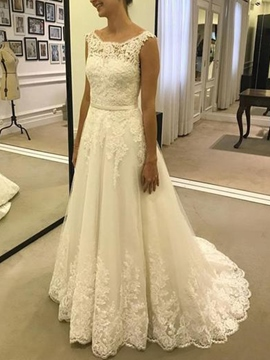 Ericdress Sweep/Brush Button Sleeveless Straps Hall Wedding Dress