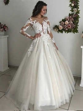Ericdress Long Sleeves Appliques Button Wedding Dress 2019