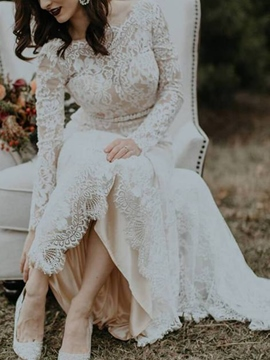 Ericdress Beading Long Sleeve Backless Lace Wedding Dress 2019