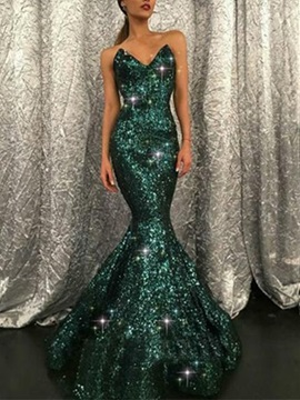 Ericdress Sleeveless Mermiad Sequins Evening Dress