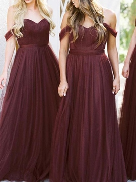 Ericdress Pleats Off-The-Shoulder A-Line Bridesmaid Dress 2019