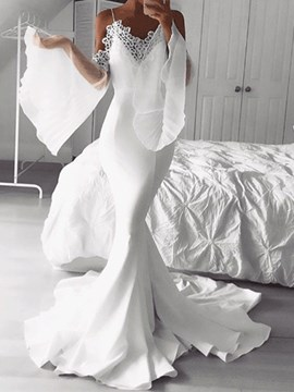 Ericdress Floor-Length Sleeveless Trumpet/Mermaid Appliques Beach Wedding Dress