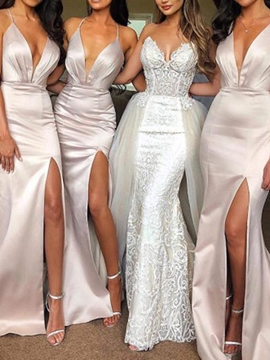 Sleeveless Halter Split-Front Wedding Party Dress