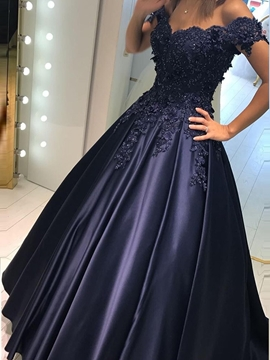 Ericdress Appliques Off-The-Shoulder A-Line Evening Dress 2019