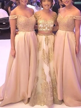 Ericdress Off-The-Shoulder Beading A-Line Bridesmaid Dress 2019