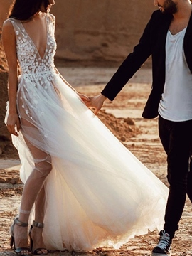 Ericdress A-Line Floor-Length Split-Front Sleeveless Beach Wedding Dress