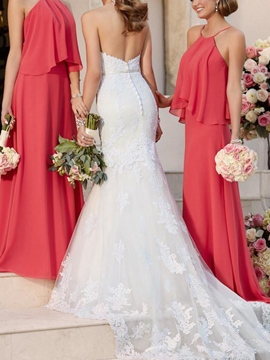 SheathTiered Sleeveless Wedding Bridesmaid Dress