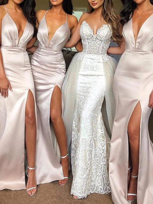 Sleeveless Halter Split-Front Wedding Party Dress 2019