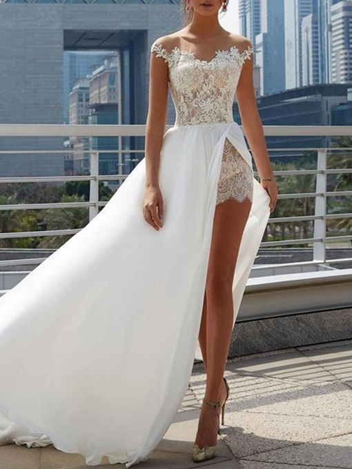 Ericdress Split-Front Lace Beach Wedding Dress 2019