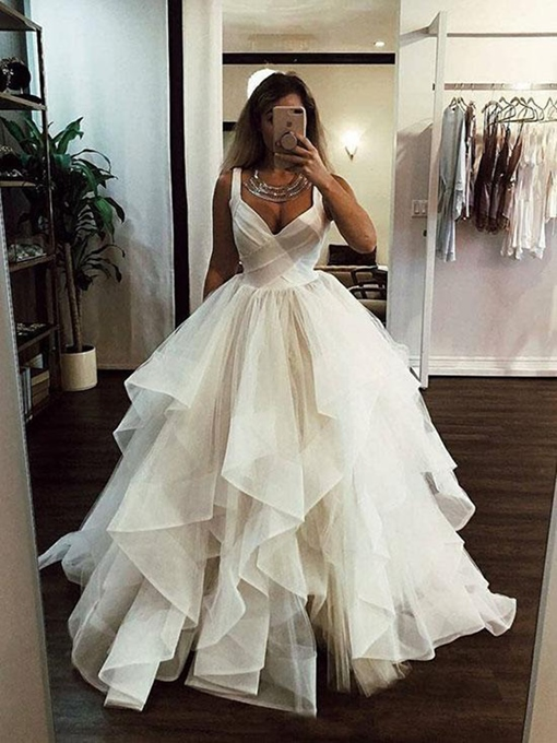 Ericdress Spaghetti Straps Tiered Ball Gown Wedding Dress